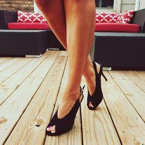 Express Black Peep Toe Heels